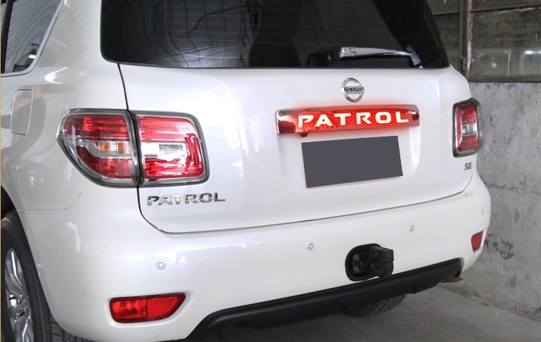 Светодиодная хром накладка на багажную дверь над номером для Nissan Patrol 2014 -
