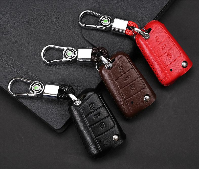 Чехол для ключа (кожа, черный, коричневый, красный) Skoda Karoq 2020 (Шкода Карок) защита на 2 й ряд цвет черный коричневый надпись karoq chn skoda karoq 2020 шкода карок