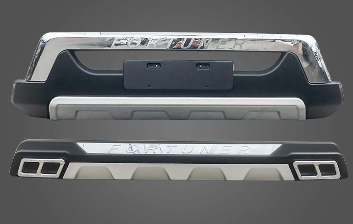 накладки на передний и задний бамперы вставок оранжевый для mitsubishi outlander 3 2011 2014 Защитные накладки на передний и задний бамперы (комплект) для Toyota Fortuner 2017-