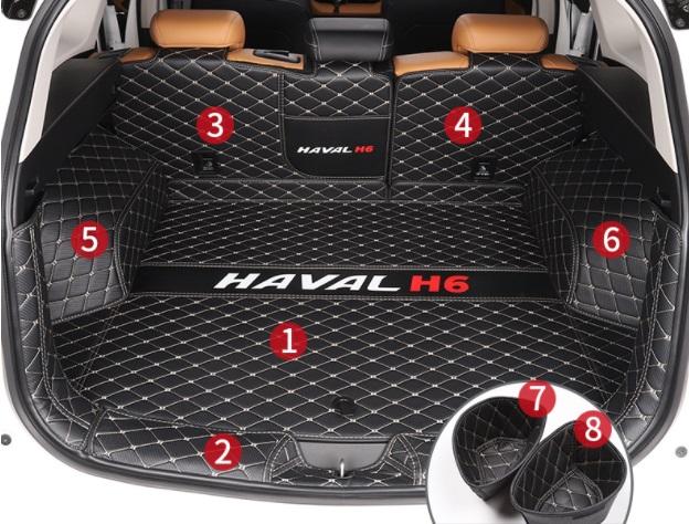 Коврики в багажник 8 элементов (полиуретан) Haval H6 2021- коврики в багажник 8 элементов полиуретан серые с черным haval h6 2021
