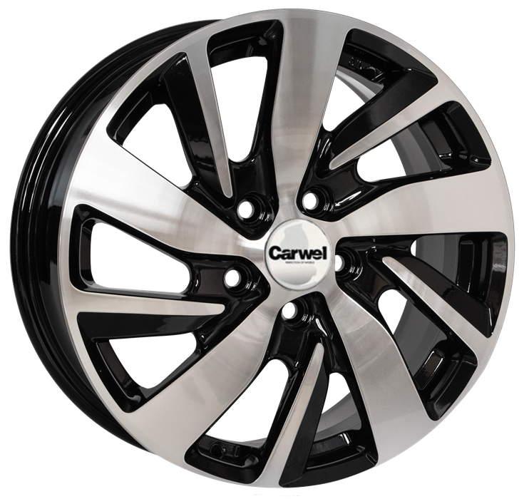 Диск колесный Carwel Байкал 166 6,5xR16 5x114,3 ET50 ЦО67,1 черный с полированной лицевой частью 36564