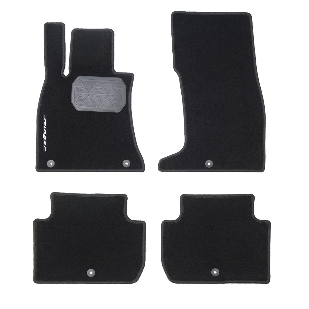 накладки на пороги с led подсветкой и надписью stinger kst dsax 01 для kia stinger 2018 Коврики в салон Hyundai/KIA текстиль черный R8140J5100WK KIA Stinger (1G) 2017-