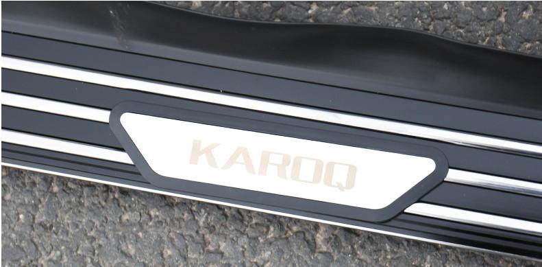 Боковые подножки, пороги (черный, серебро, надпись Karoq) Skoda Karoq 2020 (Шкода Карок) защита на 2 й ряд цвет черный коричневый надпись karoq chn skoda karoq 2020 шкода карок