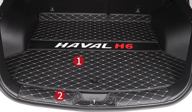 Коврики в багажник 2 элемента полиуретан Haval H6 2021- коврики в багажник 8 элементов полиуретан серые с черным haval h6 2021