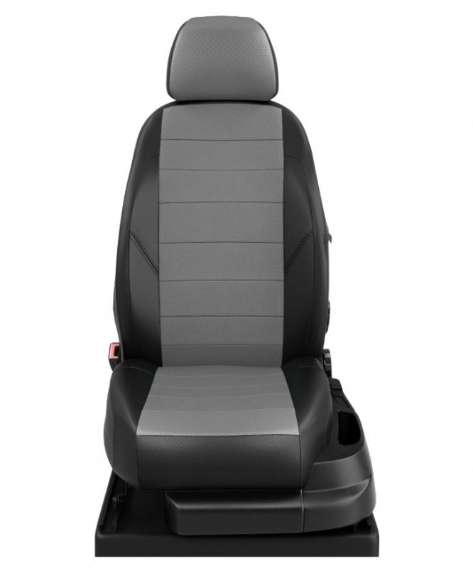 Чехлы на сиденья (тёмно серый-чёрный, экокожа) Chery Tiggo 5 2014 - 2016