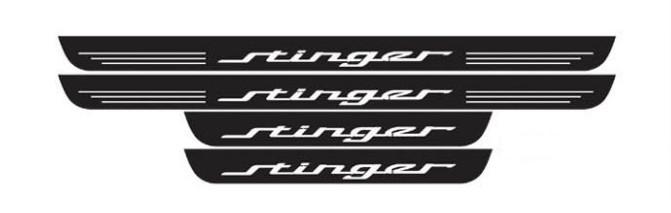 накладки на передние дверные пороги с led подсветкой kia b2f45ab010 для kia soul 2017 Накладки на пороги с LED подсветкой и надписью Stinger KST-DSAX-01 для KIA Stinger 2018 -