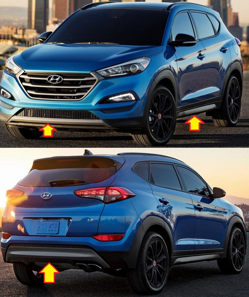 Накладки на бампера и пороги dark gray body kit для Hyundai Tucson 2015 - 2018 накладки на пороги внешние и внутренние для hyundai tucson 2015 по н в