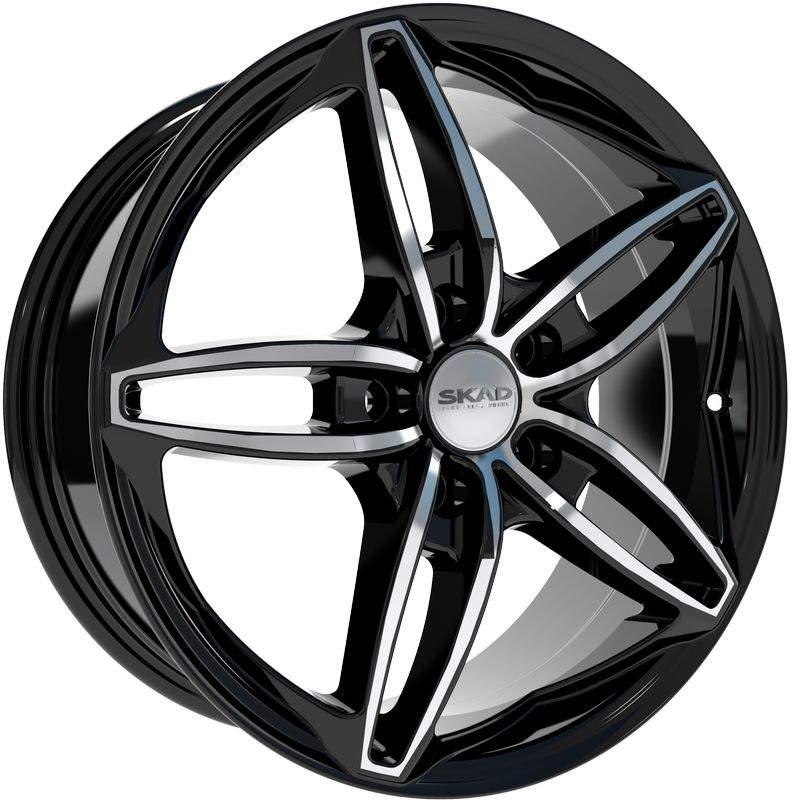 Диск колесный СКАД Турин 7xR17 5x108 ET50 ЦО63,35 черный глянцевый с полированной лицевой частью 2190105