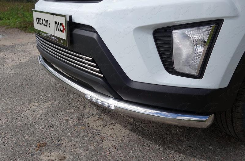 Защита передняя нижняя (с ДХО) 60,3 мм ТСС для Hyundai Creta