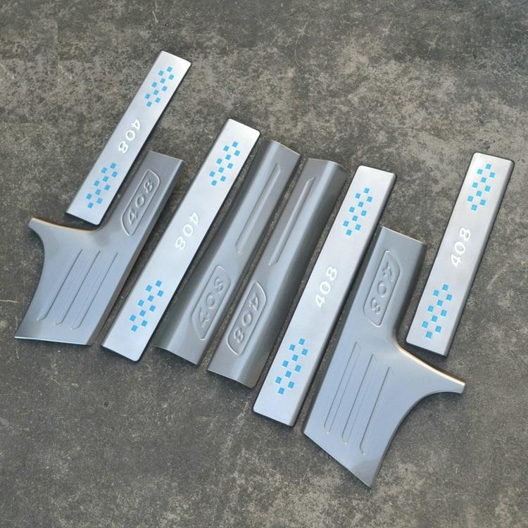 накладки на пороги с подсветкой lux Защитные накладки на пороги LUX для Peugeot 408 2012 -