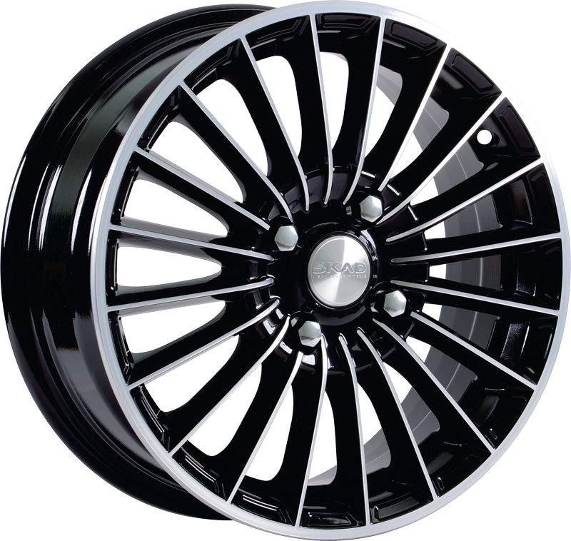 Диск колесный СКАД Веритас 6xR15 5x100 ET38 ЦО57,1 чёрный глянцевый с полированной лицевой частью 0620905