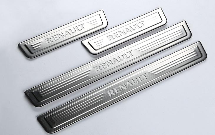 накладки на пороги с подсветкой lux Накладки на дверные пороги с LED подсветкой BNX170249 для Renault Koleos 2017 -