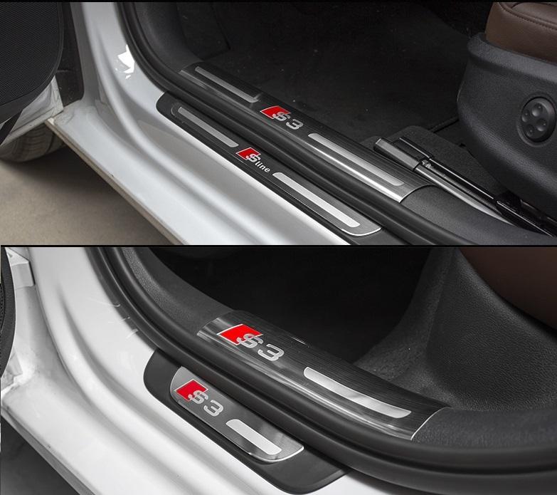 Защитные накладки на пороги S-line для AUDI A3 (3G) 8V рест. 2016-