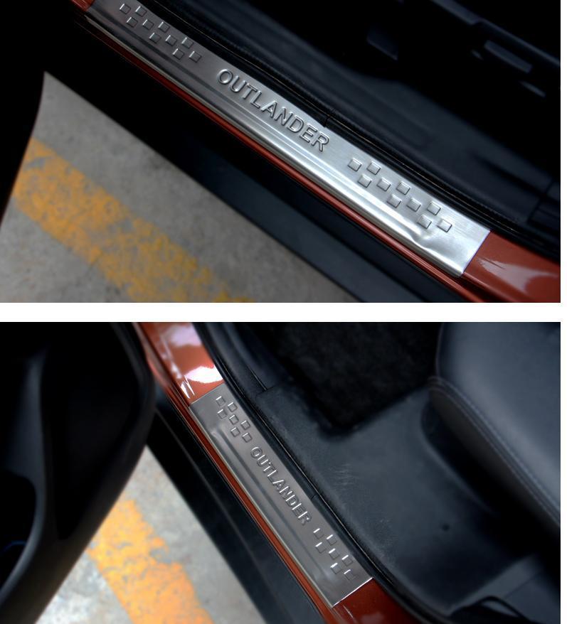 накладки на салонные ручки mitsubishi outlander 2012 Накладки на пороги (внешние) LUX для Mitsubishi Outlander 2012 - 2019