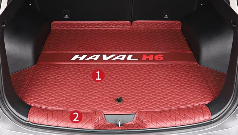 Коврики в багажник 2 элемента (полиуретан, красные) Haval H6 2021- коврики в багажник 8 элементов полиуретан серые с черным haval h6 2021
