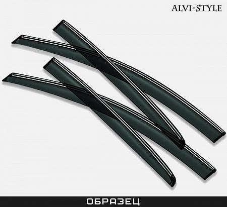 Дефлекторы окон с хромированным молдингом из нержавейки Alvi-Style для Skoda Rapid