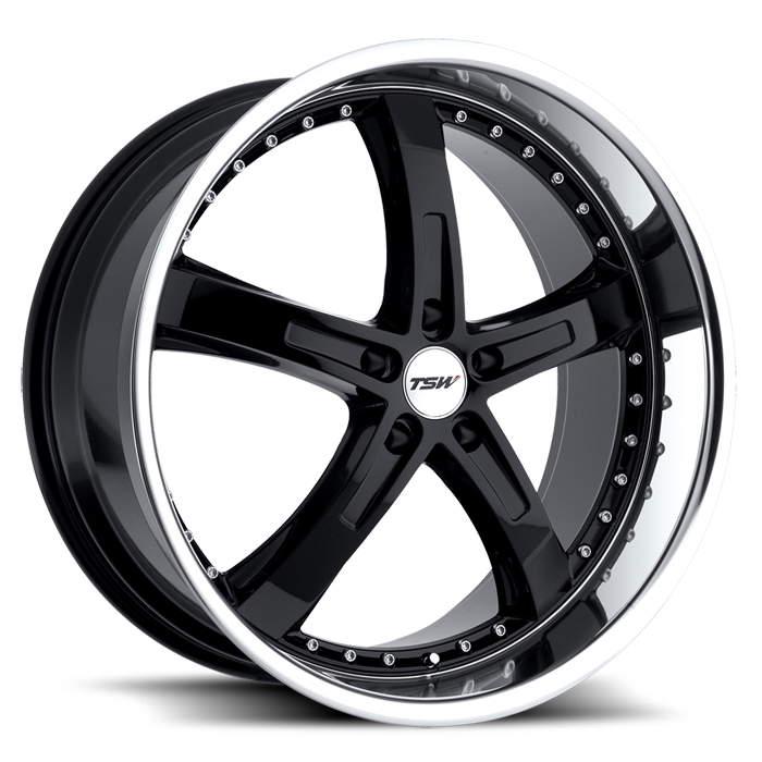 Диск колесный TSW Jarama 8xR18 5x112 ET32 ЦО72 черный глянцевый с полированным ободом 1880JAR325112B72