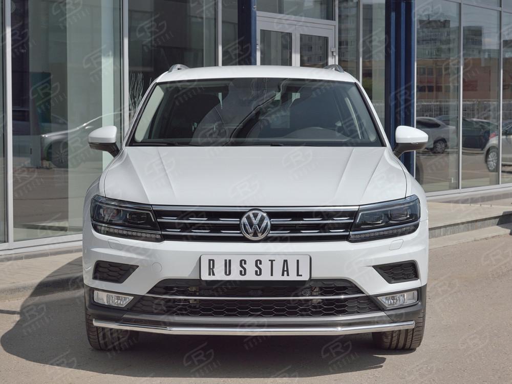 Передняя защита 42мм (КРОМЕ OFF ROAD) VGZ-002711 для Volkswagen Tiguan 2017-