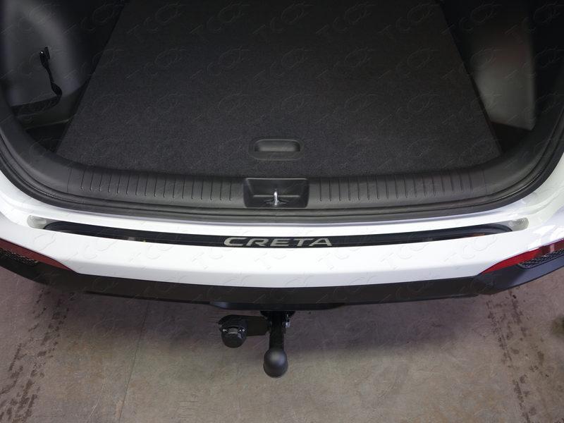 накладка на задний бампер с загибом нержавеющая сталь матовая original alu frost 50 5579 для renault koleos 2017 Накладка на задний бампер (лист зеркальный надпись Creta) ТСС для Hyundai Creta 2016 -