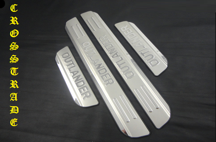 накладки на салонные ручки mitsubishi outlander 2012 Защитные накладки на внешние пороги CROSS для Mitsubishi Outlander 2012 - 2018