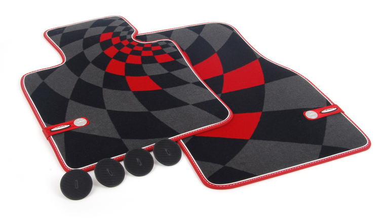 Коврики в салон передние Mini велюр серый, черный, красный 51472354174 Mini Cooper 2015- коврики в салон передние mini велюр синяя клетка 51472354172 mini cooper 2015