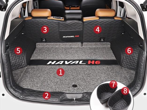 Коврики в багажник 8 элементов (полиуретан, серые с черным) Haval H6 2021- коврики в багажник 8 элементов полиуретан серые с черным haval h6 2021