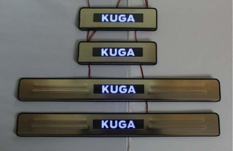 накладки на дверные пороги с led подсветкой bnx170249 для renault koleos 2017 Накладки на дверные пороги с логотипом и LED подсветкой, нерж. JMT 24397 для Ford Kuga 2017-