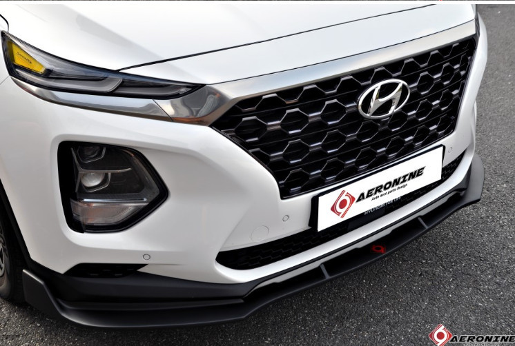 Юбка переднего бампера для Санта Фе 4 (Hyundai Santa Fe 2018 - 2019)