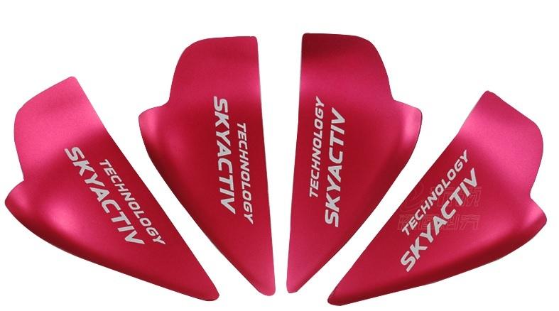 Декоративные накладки под салонные дверные ручки (красные) для Mazda CX-5 2017- стеллажи 3 дверные