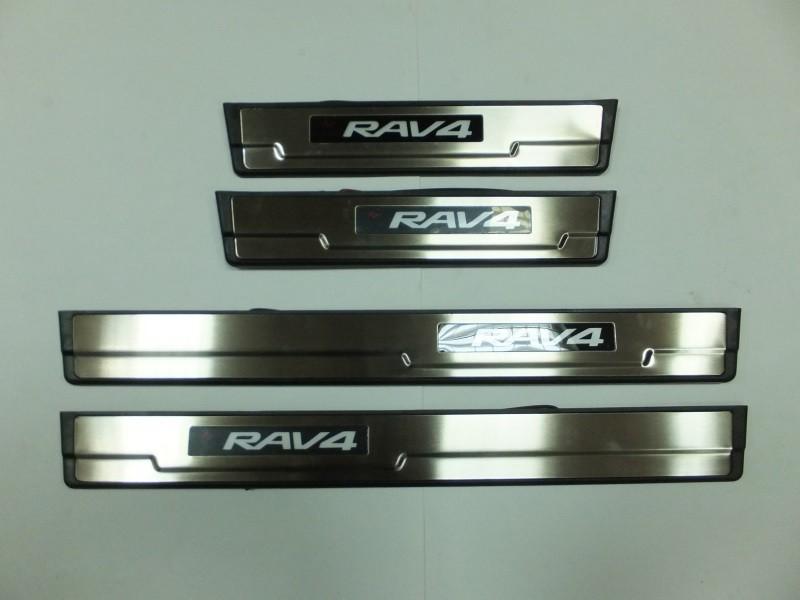 Накладки на дверные пороги с логотипом и LED подсветкой, нерж., OEM Stile JMT 24355 для Toyota RAV4 2015-