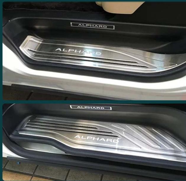 Комплект накладок на дверные пороги (надпись Alphard, хром) для Toyota Alphard 2015 -