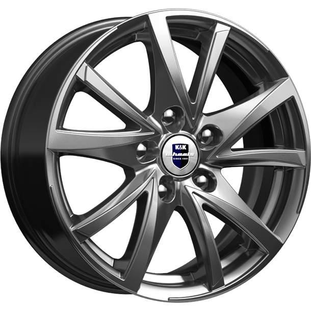 Диск колесный K&K Игуана 6,5xR16 5x112 ET49 ЦО66,6 серый тёмный глянцевый r73285