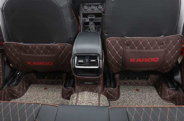 Защита на 2-й ряд (черный, коричневый, надпись Karoq) Skoda Karoq 2020 (Шкода Карок) защита на 2 й ряд цвет черный коричневый надпись karoq chn skoda karoq 2020 шкода карок