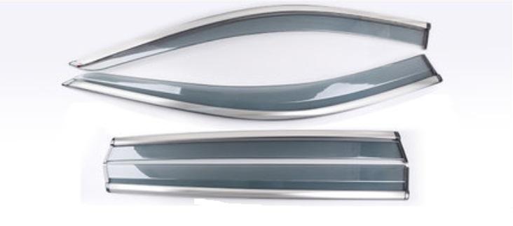 Дефлекторы окон серые с нержавеющей стали Toyota RAV4 2019-
