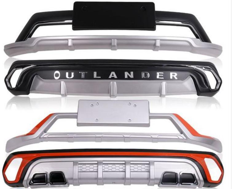 накладки на передний и задний бамперы вставок оранжевый для mitsubishi outlander 3 2011 2014 Накладки на передний и задний бамперы ( вставок оранжевый) для Mitsubishi Outlander 3 (2011 - 2014)
