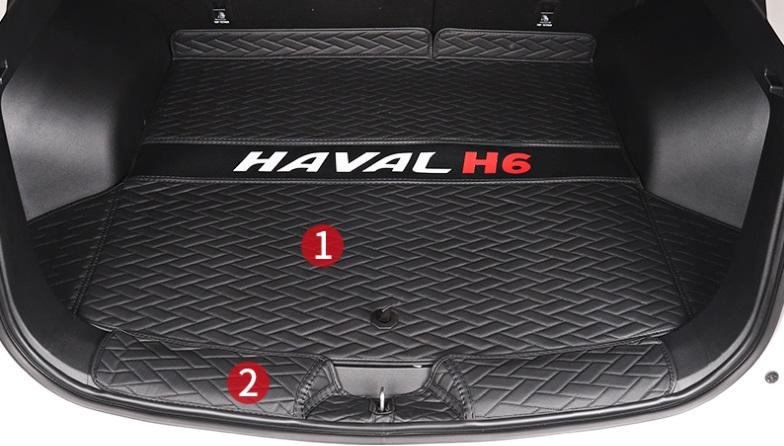 Коврики в багажник 2 элемента (полиуретан, черные) Haval H6 2021- коврики в багажник 8 элементов полиуретан серые с черным haval h6 2021