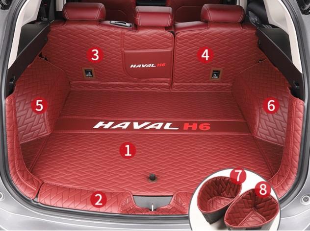Коврики в багажник 8 элементов (полиуретан, красные) Haval H6 2021- коврики в багажник 8 элементов полиуретан серые с черным haval h6 2021