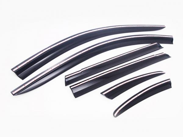 Дефлекторы боковых окон (с хром. молдингом) COBRA-TUNING H24313CR Hyundai Grand Santa Fe 2014-2018