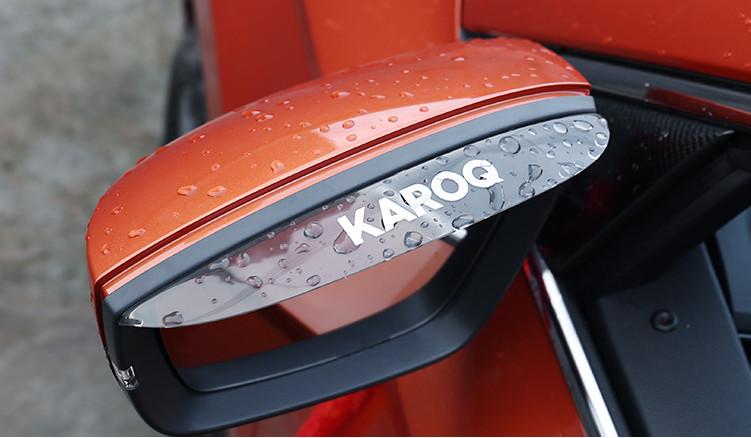 Козырьки на боковые зеркала (темные, надпись Karoq) Skoda Karoq 2020 (Шкода Карок) защита на 2 й ряд цвет черный коричневый надпись karoq chn skoda karoq 2020 шкода карок