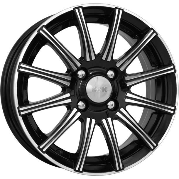 Диск колесный K&K Сиеста 6xR15 4x100 ET35 ЦО67,1 черный глянцевый с полированной лицевой частью 12791