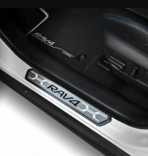 Накладки на дверные пороги с LED-подсветкой (черный карбон) CHN для Toyota RAV4 new (Тойота РАВ4) 2019 + накладки на дверные пороги полированные chn для toyota rav4 new тойота рав4 2019