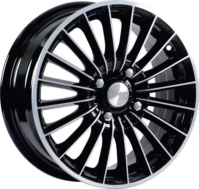 Диск колесный СКАД Веритас 5,5xR14 4x100 ET38 ЦО67,1 черный глянцевый с полированной лицевой частью 1970105