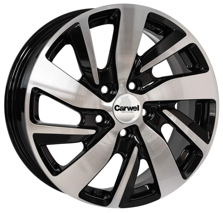 Диск колесный Carwel Байкал 166 6,5xR16 5x114,3 ET46 ЦО67,1 черный с полированной лицевой частью 36559