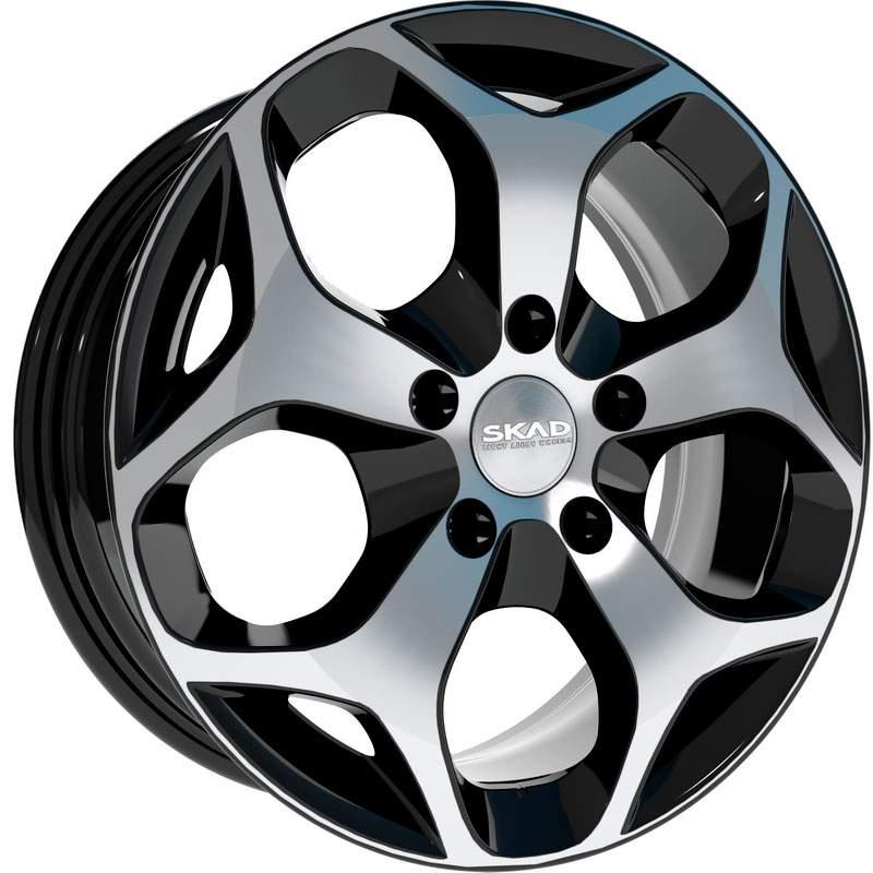 Диск колесный СКАД Гамбург 6,5xR16 5x114,3 ET45 ЦО60,1 чёрный глянцевый с полированной лицевой частью 2460505