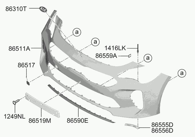 Передний бампер, не крашенный для KIA Stinger 2018 - бампер kia
