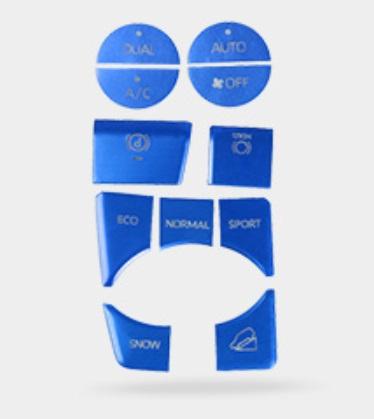 Накладки на кнопки управления (синие) Toyota RAV4 2019-