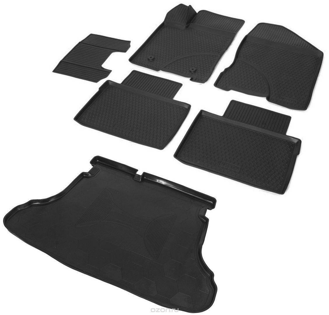 Коврики салона и багажного отсека, комплект на автомобиль, 5 мест, резиновые для Санта Фе 4 (Hyundai Santa Fe) 2018 - 2019 недорого