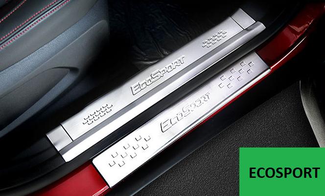 накладки на дверные пороги надписи ecosport для ford ecosport 2018 Защитные накладки на пороги, внешние и внутренние LUX CHN для Ford Ecosport
