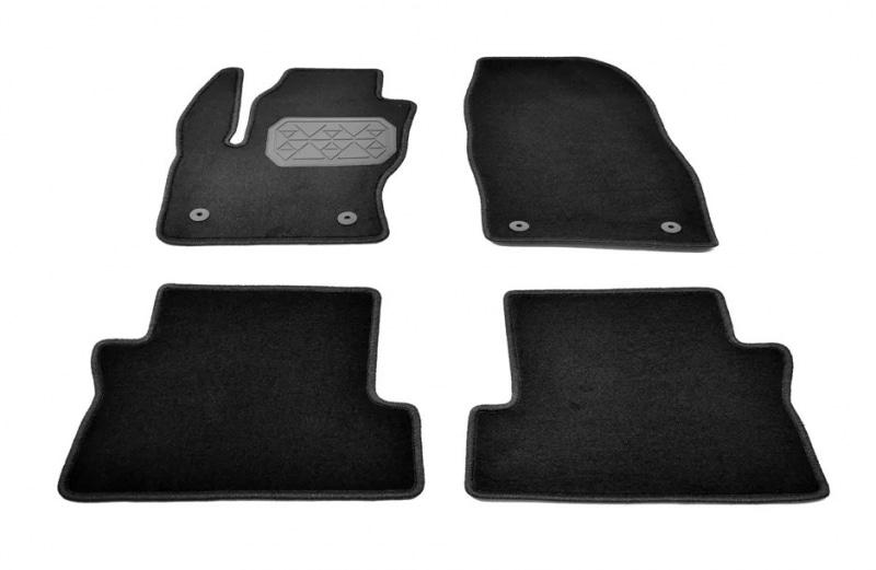 Коврики салона текстильные (велюр, полиамид), чёрные (2 лог.подп. п/у ) Norplast NPA10-VTe220-400a для Ford Kuga 2016-
