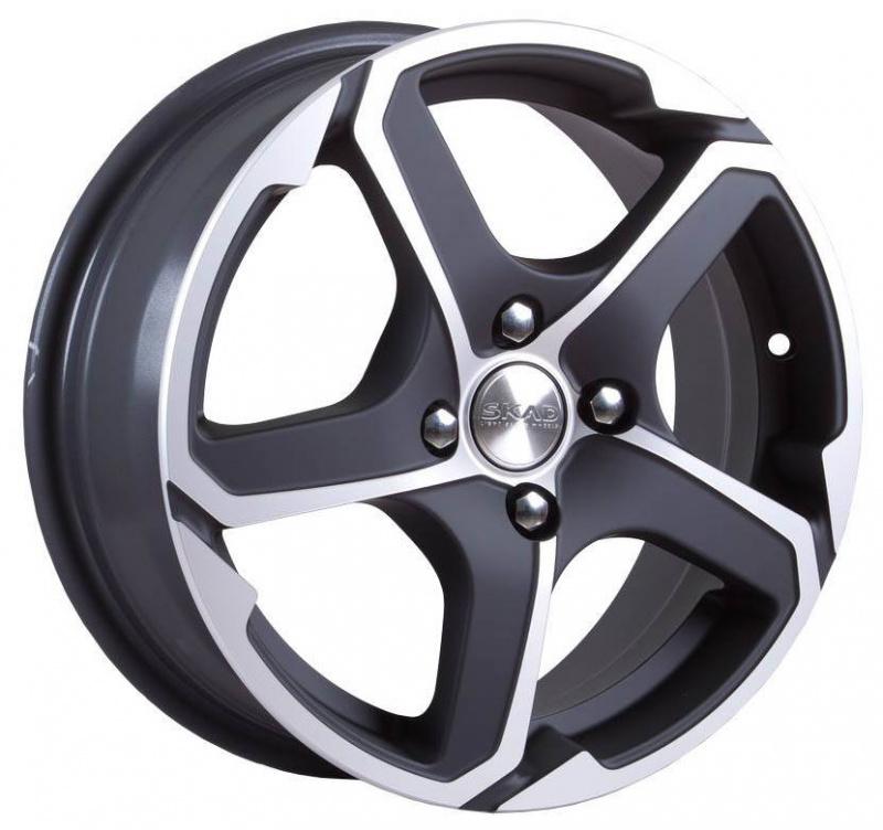 Диск колесный СКАД Аллигатор 6xR15 4x100 ET48 ЦО54,1 черный матовый с полированной лицевой частью 1131026